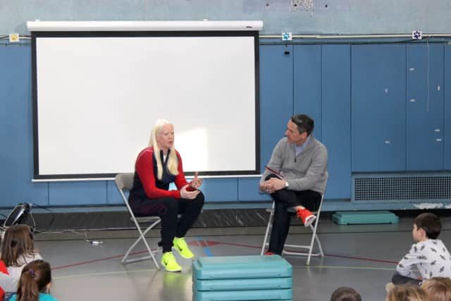 Paralympic rower Jaclyn Smith spoke with students at Colonial School on Friday, Dec. 16. Smith, who helped Team USA to a silver medal, is partially blind and talked to students about diversity. The discussion was moderated by parent Dave Mingey.