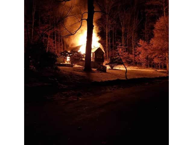 The fire fully engulfed the house on 12 Hickory Road in Somers.