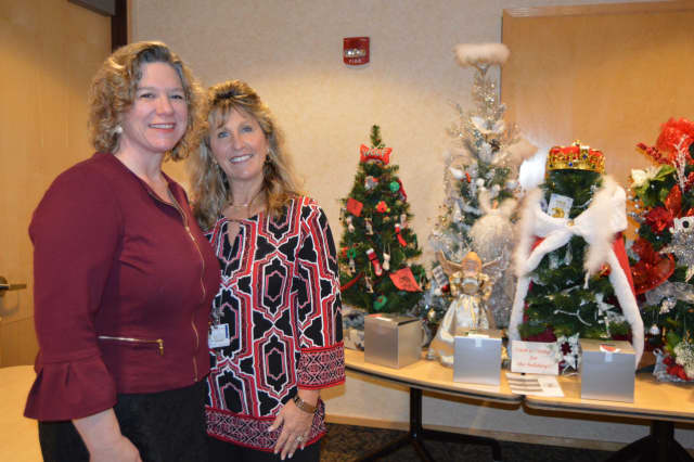 Susan Agamy, executive director of Spooner House, left, joins Kim Hall, senior applications coordinator at Griffin Hospital, and hospital staff in drawing tickets for the Holiday Wonderland of Trees last month.
