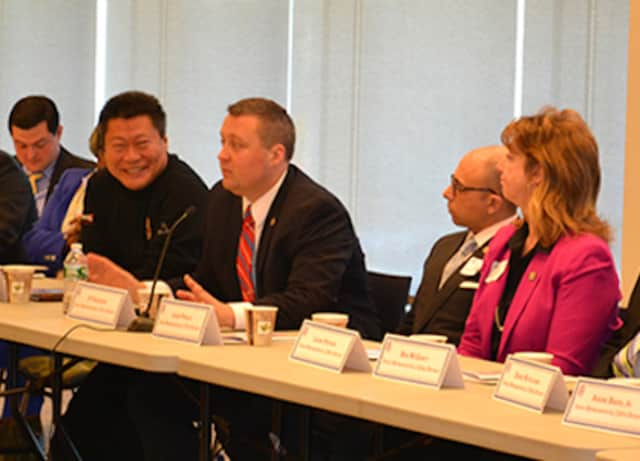 J.P. Sredzinski (R-Monroe) attends a meeting of the Bridgeport Regional Business Council.