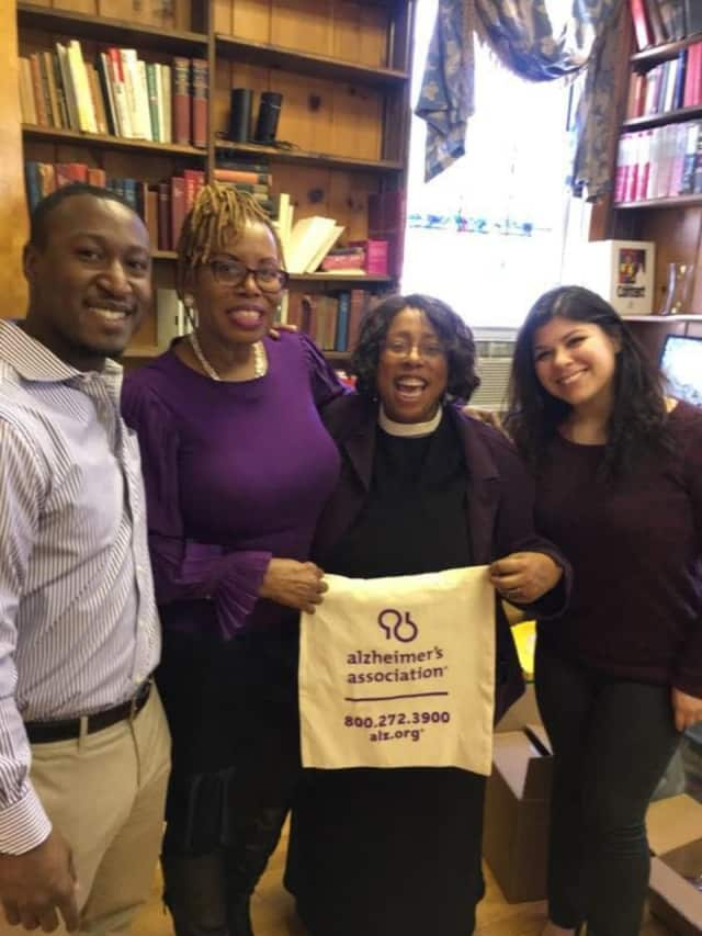 L to R:  Andres Standard of the Alzheimer's Association, Linnette Livermore, the Rev. Cheryl Parrish of St. Paul's Episcopal Church and Kayla Lesser.