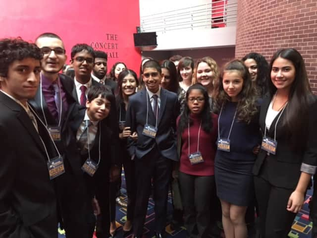 Students from Alexander Hamilton High School were among the Elmsford students who attended Gov. Andrew Cuomo's State of the State speech at SUNY Purchase on Jan. 10.