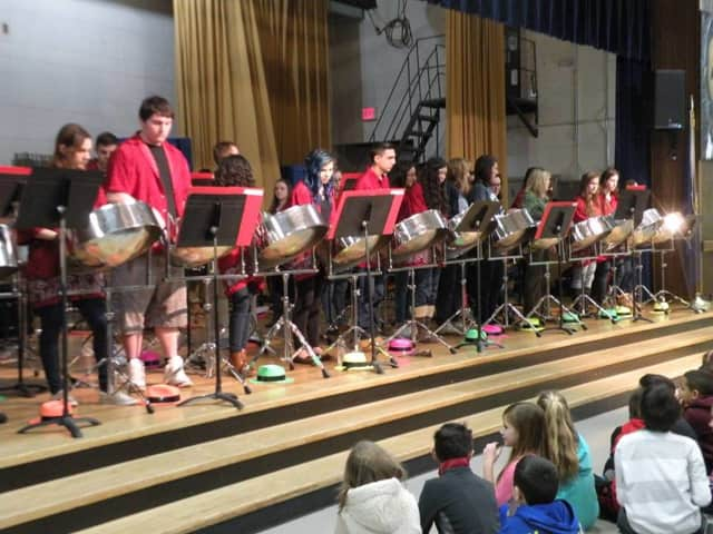 Mahopac High School's steel-drum band performs before students at Fulmer Road Elementary School.