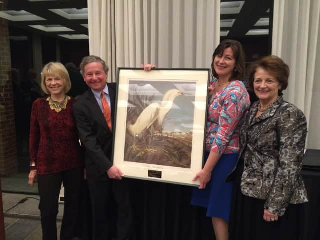 State Assemblyman Steve Otis, (D-Rye), receives the 2016 William Hoyt Environmental Excellence Award from Virginia Stowe, board chair of Audubon New York; Erin Croztty, executive director of Audubon New York; and Marcy Boyle, chair of Audubon