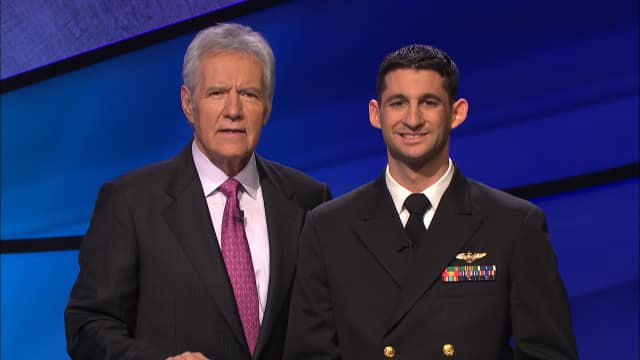 "Stew Latwin of Rye, pictured with ""Jeopardy!"" host Alex Trebek, makes his show appearance Monday."
