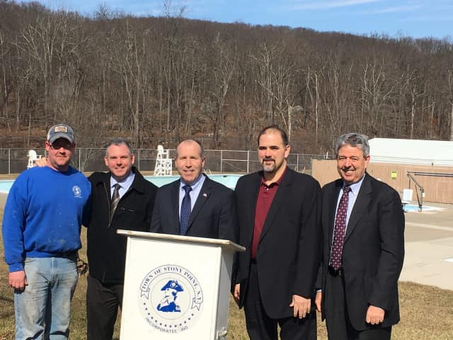 From left to right, Stony Point Parks and Grounds employee Curtis Wicks, Councilman Mike Puccio, Supervisor Jim Monaghan, SUEZ Vice President Chris Graziano and SUEZ Director Bill Madden at the Stony Point town pool.