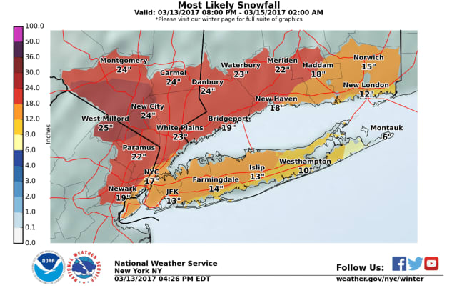Up to 2 feet of snow could fall in parts of Fairfield County as a blizzard slams the Northeast on Tuesday.