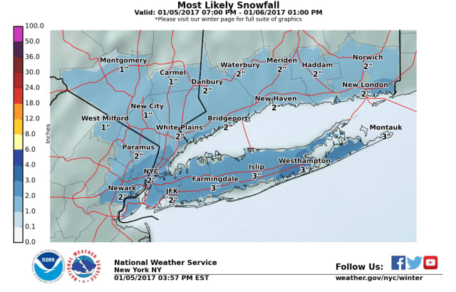 Fairfield County is slated to get a couple of snow by Friday morning, but it will come at a bad time for commuters.