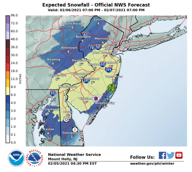 Sunday snowfall predictions.