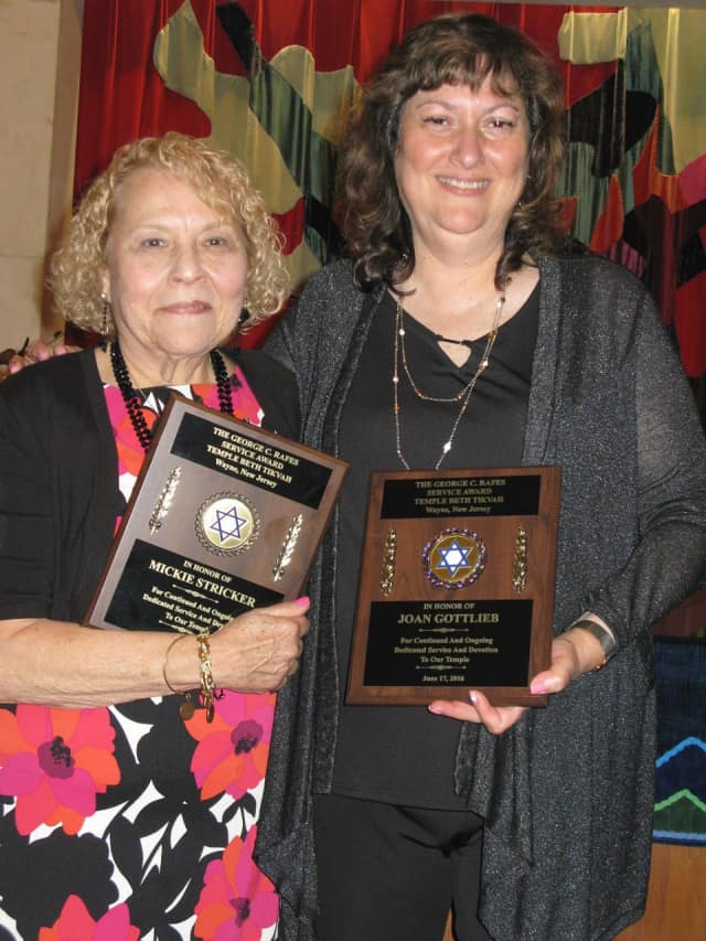 Mickie Stricker and Joan Gottlieb received the George Rafes Memorial Service Award