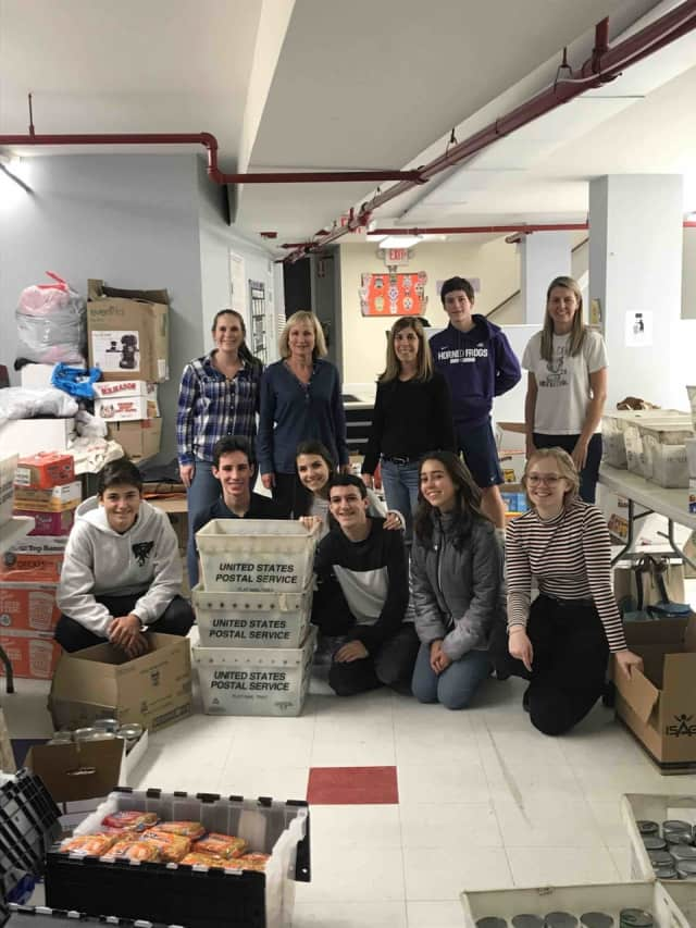 Rye Neck High School students donated food items to the Larchmont-Mamaroneck Food Pantry to assist local families in need.