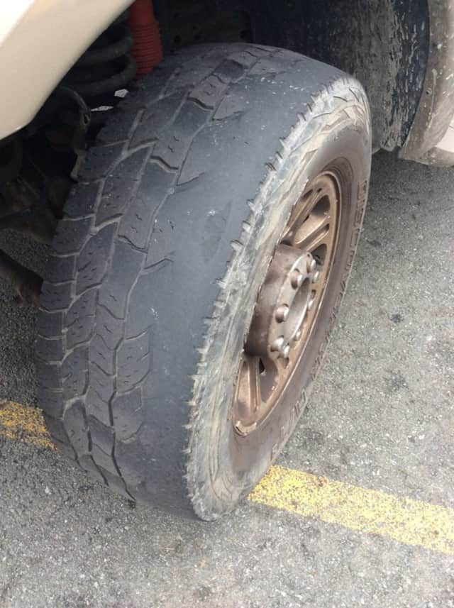 A worn tire was discovered Thursday during a joint commercial vehicle safety check between Suffern police and the state Department of Transportation.