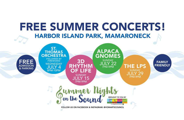 Mamaroneck Summer Nights on the Sound Concert Series. Courtesy Village of Mamaroneck Arts Council/Facebook.