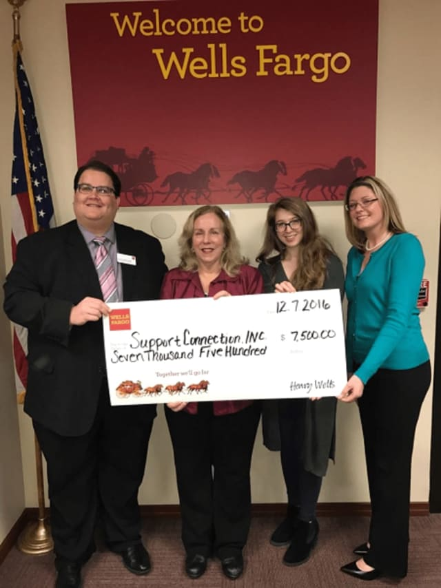 Wells Fargo recently provided a $7,500 grant to Support Connection.
