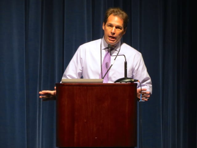 Michael Orth, deputy commissioner of the Westchester County Department of Community Mental Health, was the day's kenote speaker at a conference at the Briarcliff school district.