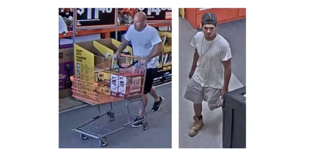 Authorities are searching for two men accused of stealing merchandise worth about $885 from a Suffolk County store.