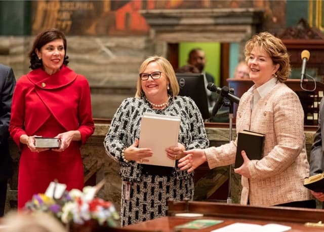 Pennsylvania Senate Swearing-In Day 2019, from left to right: Senators Kristin Philips-Hill, Judy Ward and Michele Brooks.
