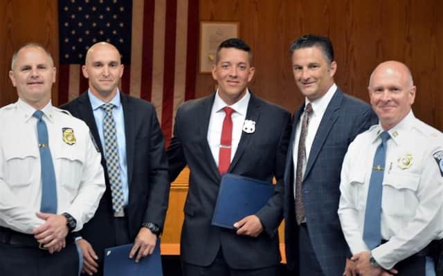 FROM LEFT: Northvale Police Chief William Essmann, Officer David Kropilak, Officer Edward Sedano, Mayor Ed Piehler, Capt. Howard Ostrow
