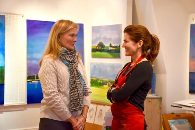 Eileen Smith from the Tree Conservancy of Darien and artist Elizabeth Higgins.