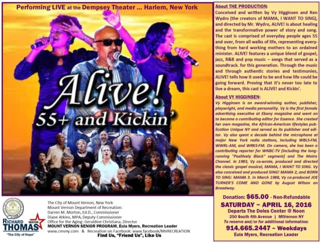 """Mount Vernon's Office for the Aging will visit Harlem for """"Alive: 55+ and Kickin'"""" on April 16."""