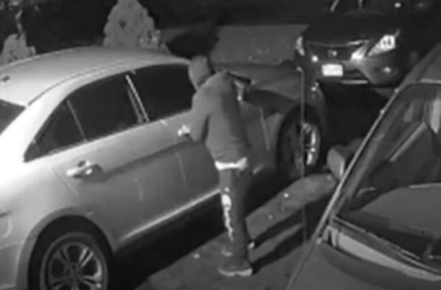 A burglar is caught on camera at 4:00 a.m. checking for unlocked car doors