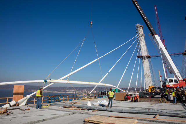 Crews installed the last of 96 stay cables last week on the westbound side of the new Tappan Zee Bridge.