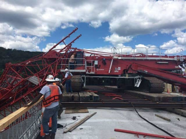 A shot of the crane that collapsed earlier this week during the construction of the new Tappan Zee Bridge.