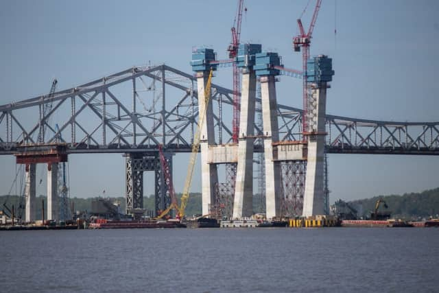 Construction crews installing some of the towers for the new Tappan Zee Bridge.
