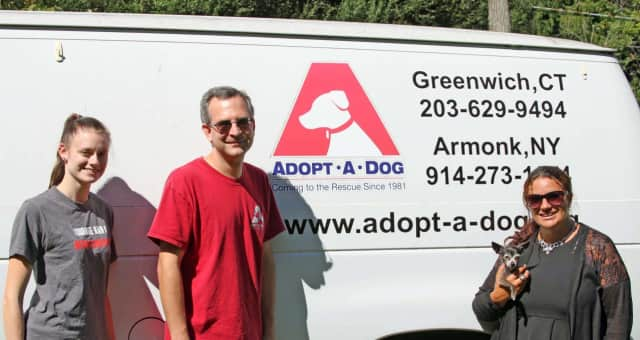 Bedford business Tasteful Treats and Treasures recently delivered truckloads of items for a silent auction to benefit Adopt-A-Dog animal rescue organization in Armonk.