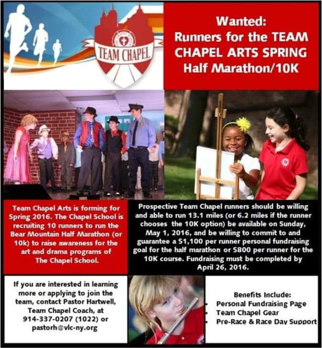 The Chapel School in Bronxille is recruiting 10 runners to run the Bear Mountain Half Marathon (or 10k) to raise awareness for the art and drama programs of The Chapel School.