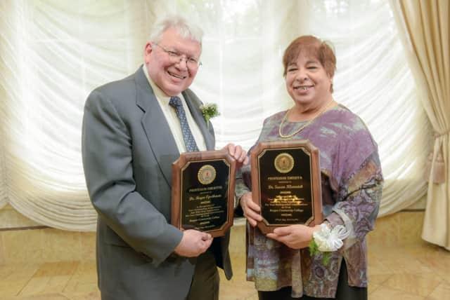 Roger Opstbaum and Susan Klarreich have achieved the rank of professor emeritus at Bergen Community College.