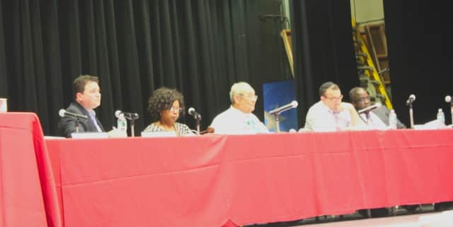 Teaneck Council deliberates during Tuesday night's meeting.