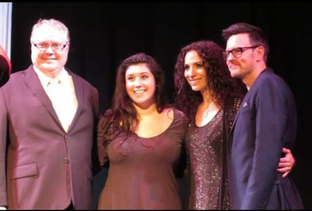 Westchester Teen Idol winner Brianna Marangiello with the competition's judges Dan Montez, Brian Gallagher and Angela DeCicco.