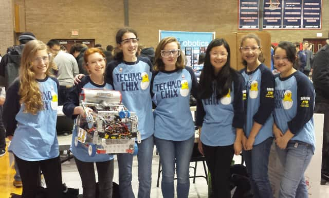 Sarita Servidio (second from right) has been a member of the Techno Chix for the past year and a member of middle and high school level techno teams for the past three years.