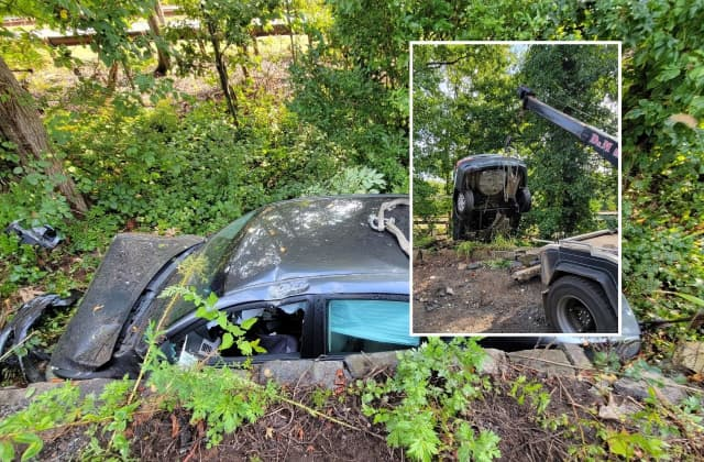 The sedan landed between Route 9W and the Palisades Interstate Parkway in Tenafly.