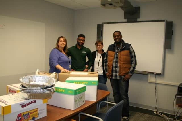 Employees of the Southern Westchester BOCES Rye Brook and Harrison offices collected enough food to feed 10 families for Thanksgiving.