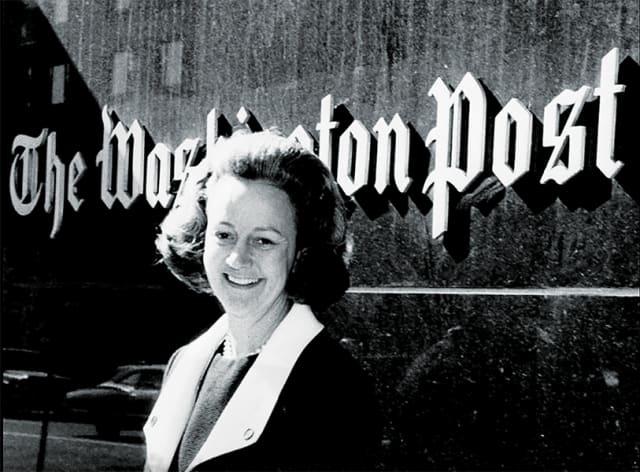 Katharine Graham outside The Washington Post's headquarters, circa 1970s. Courtesy The Washington Post.