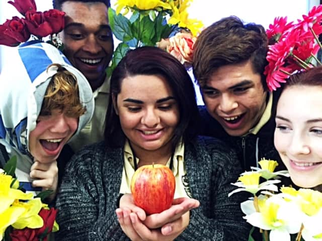 "(from left) Kaitlin Rust, Brennen Dopwell, Kayla Pellot, Edwin Perez and Maria Cunneely are featured in the Bergen Arts and Science Charter High School's production of ""The Apple Tree."""