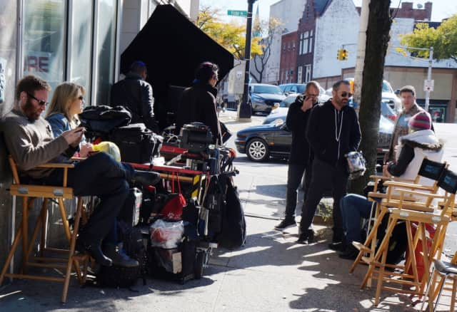 """The Bleeder"" film crew on break at Gramatan Avenue"