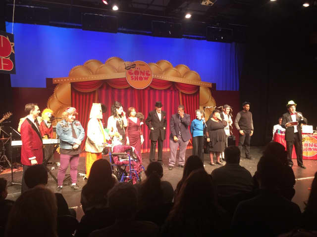 """The iconic '70s TV show """"The Gong Show"""" was recreated at the Harvey School in Katonah Sunday night for the Gong Show Off Broadway presentation."""