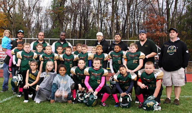 The Hyde Park football team -- posing here at its game against Wappingers Falls on Sunday -- will play New Rochelle in the championship game.