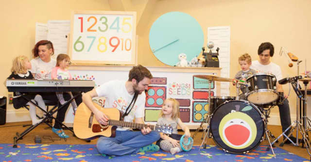 Songs for Seeds features 45-minute classes where young children sing, dance and play along with a three-piece live band.