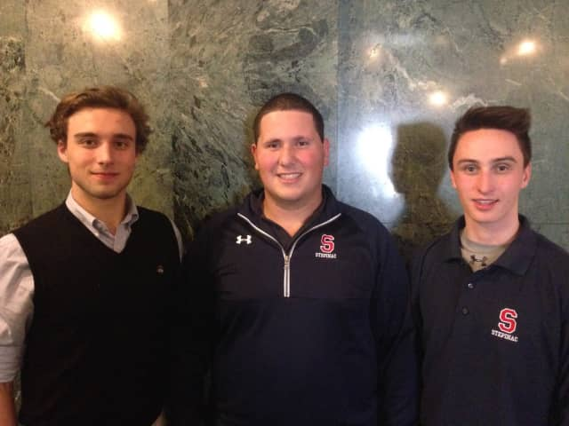 Left to right are the three Stepinac Theater Lab pioneers Nicholas Tabio, Christian Prato and Kevin Ulrich.