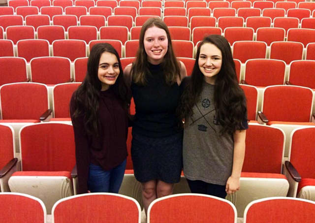 (from left to right) Theresa Abou-Daoud, Taylor Andresen and Sarah Steinberg has landed spots in the New Jersey All-State Chorus.