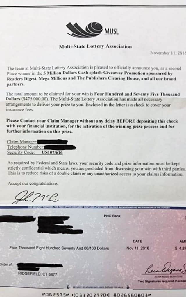 This is the letter and fake check a Ridgefield resident received.