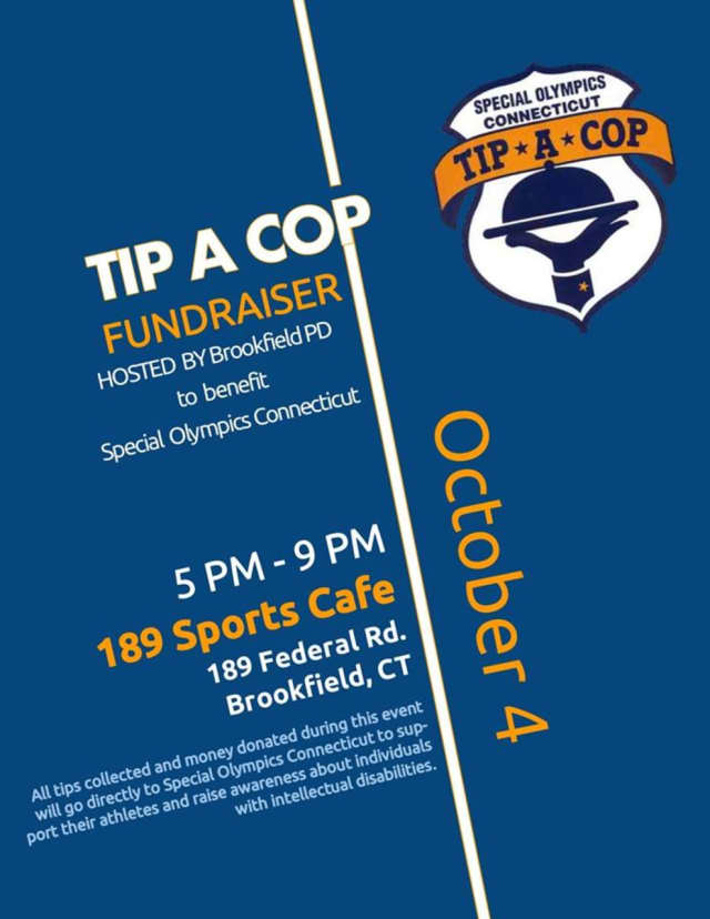 The Tip-A-Cop event at 189 Sports Cafe in Brookfield will benefit the Special Olympics Connecticut