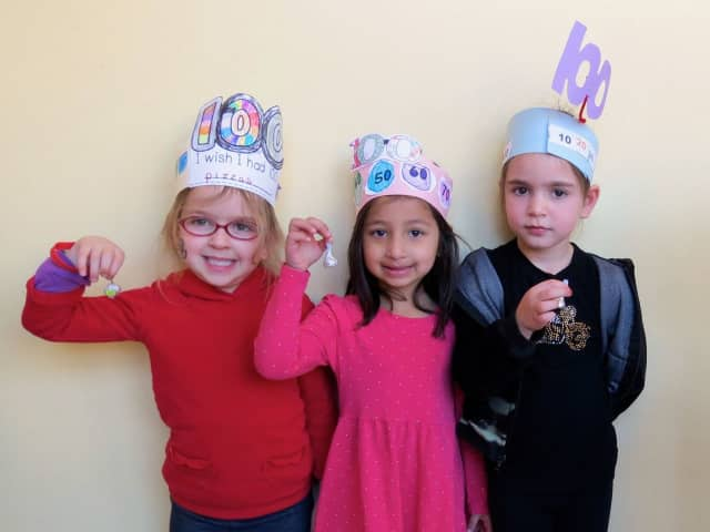 """Briarcliff Manor's Todd Elementary School kindergartners celebrated the 100th day of school with a number of """"100""""-themed activities throughout the day."""