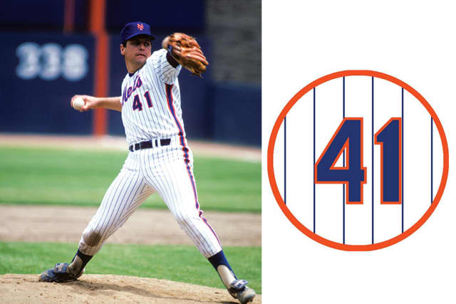 """""""The Franchise:""""  Tom Seaver pitching for the New York Mets & The New York Mets retired """"41,"""" Tom Seaver's number."""