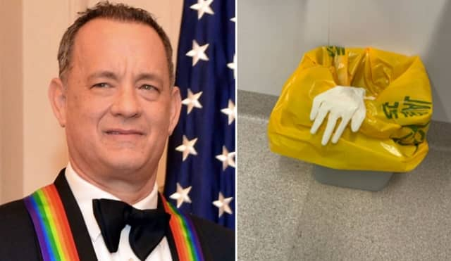 Tom Hanks posted the photo at right along with his Wednesday night tweet.