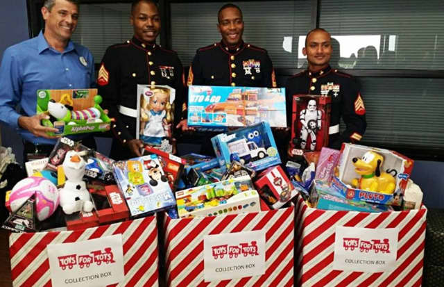 Look for the three Toys for Tots collection bins around Pound Ridge.